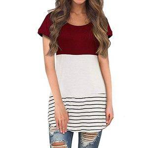 Red White Striped Tee w/ Lace Detail In Back Large